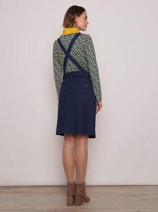 Tmavomodré rifľové šaty na traky Tranquillo