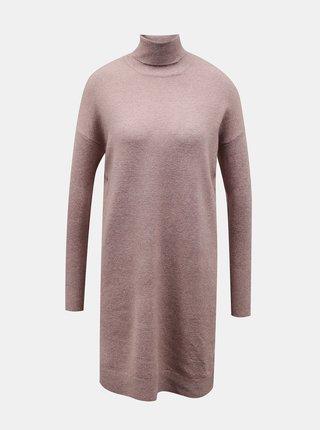Růžové svetrové šaty s rolákem VERO MODA Brilliant