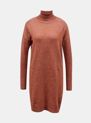 Hnedé svetrové šaty s rolákom VERO MODA