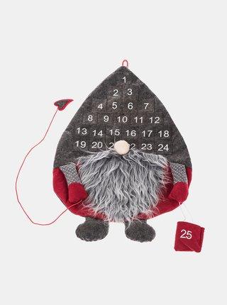 Šedý závesný adventný kalendár v tvare vianočného škriatka  Dakls