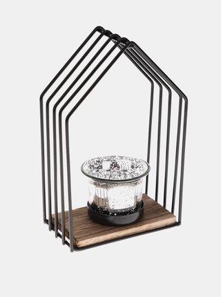 Černý kovový svícen Dakls