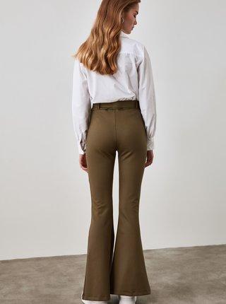 Kaki dámske nohavice s remienkom Trendyol