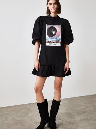 Černé mikinové šaty s potiskem Trendyol