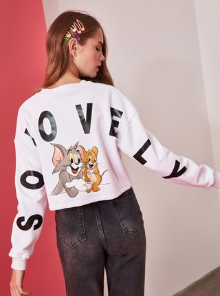 Biela dámska mikina s potlačou na chrbte Trendyol