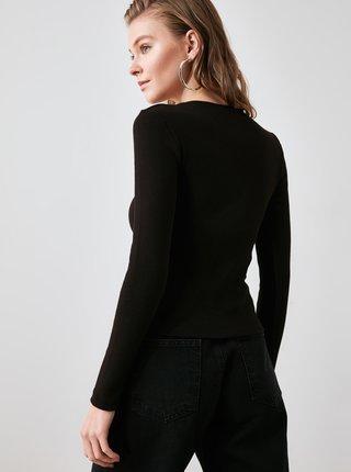 Černé dámské tričko s krajkou Trendyol
