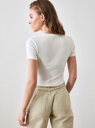Biele dámske krátke tričko Trendyol