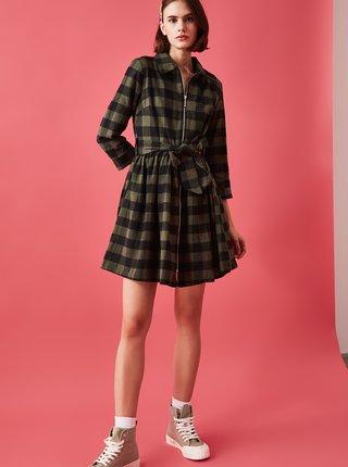 Khaki kostkované šaty se zavazováním Trendyol