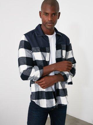 Šedo-modrá pánská kostkovaná košile Trendyol