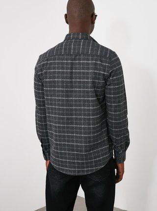 Šedá pánska kockovaná košeľa Trendyol