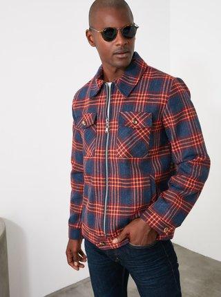 Červeno-modrá pánska kockovaná bunda Trendyol