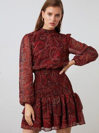 Vínové vzorované šaty Trendyol