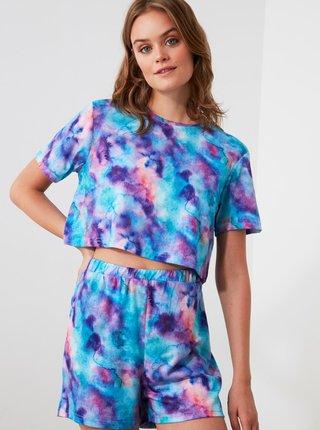 Modré vzorované pyžamo Trendyol