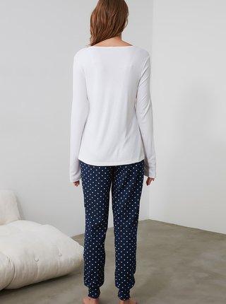 Bielo-modré bodkované pyžamo Trendyol