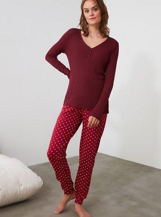Vínové puntíkované pyžamo Trendyol