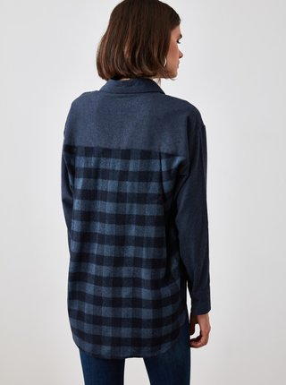 Tmavě modrá košile s prodlouženou zadní částí Trendyol