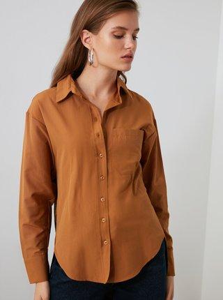 Hnědá košile s prodlouženou zadní částí Trendyol