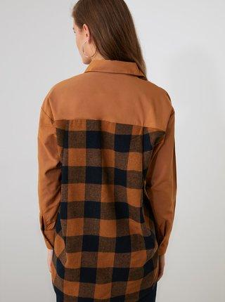 Hnedá košeľa s predĺženou zadnou časťou Trendyol