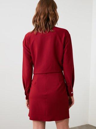 Vínová sukně s knoflíky Trendyol