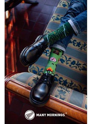 Many Mornings zelené ponožky The Map
