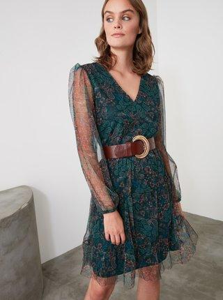 Tmavozelené kvetované šaty s priesvitnými rukávmi Trendyol