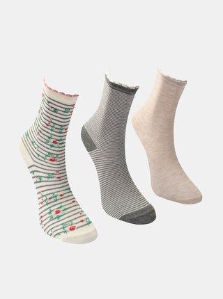 Sada troch párov dámskych ponožiek v šedej a ružovej farbe Trendyol