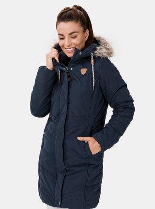 Tmavě modrý dámský zimní prošívaný kabát SAM 73 Amelia