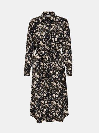 Černé květované košilové midišaty Jacqueline de Yong