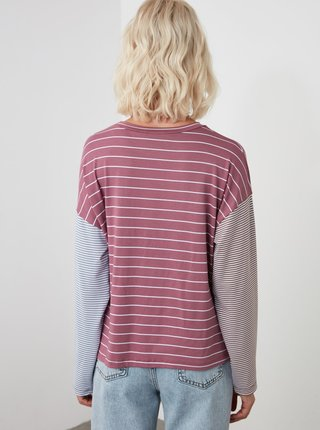 Fialové pruhované tričko Trendyol