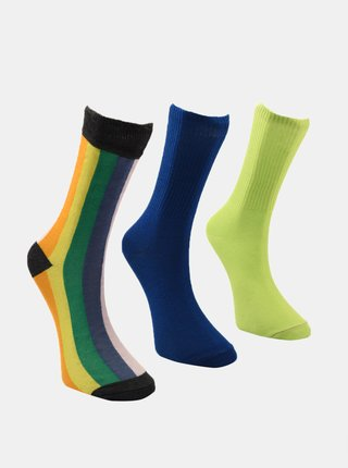 Sada troch párov pánskych ponožiek v modrej a zelenej farbe Trendyol