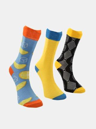 Sada tří párů pánských ponožek v modré a žluté barvě Trendyol