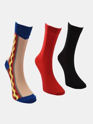 Sada tří párů pánských ponožek v černé a červené barvě Trendyol