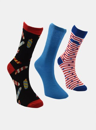 Sada tří párů pánských ponožek v černé a modré barvě Trendyol