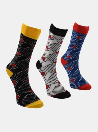 Sada troch párov pánskych ponožiek v modrej a šedej farbe Trendyol