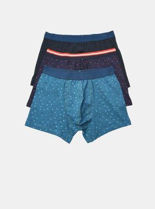 Sada tří pánských modrých vzorovaných boxerek Trendyol