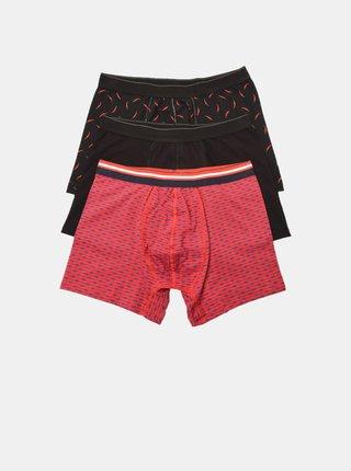 Sada troch pánskych boxeriek v čiernej a červenej farbe Trendyol