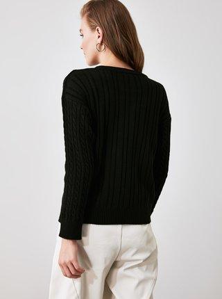 Černý svetr s nápisem Trendyol