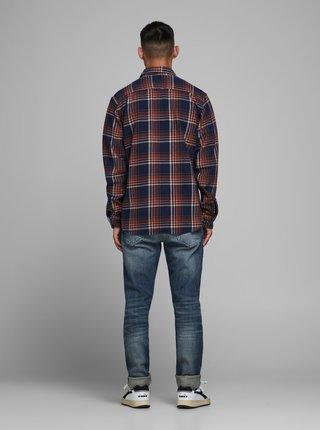 Tmavomodrá kockovaná košeľa Jack & Jones