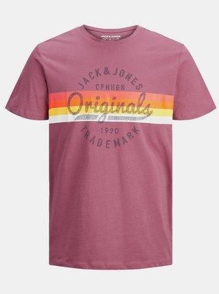 Ružové tričko s potlačou Jack & Jones
