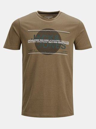 Hnedé tričko s potlačou Jack & Jones