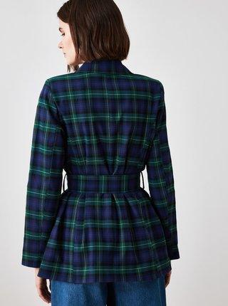 Tmavě modrý kostkovaný lehký kabát Trendyol
