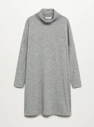 Šedé svetrové šaty s rolákem Mango