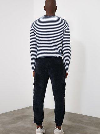 Tmavě modré pánské manšestrové cargo kalhoty Trendyol