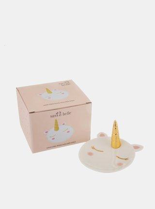 Bílý talířek na šperky ve tvaru jednorožce Sass & Belle