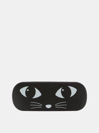 Čierne puzdro na okuliare s motívom mačky Sass & Belle