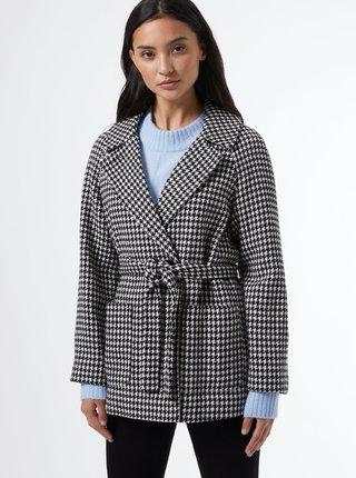 Bílo-černý vzorovaný krátký kabát Dorothy Perkins Petite