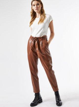 Hnědé zkrácené koženkové kalhoty Dorothy Perkins