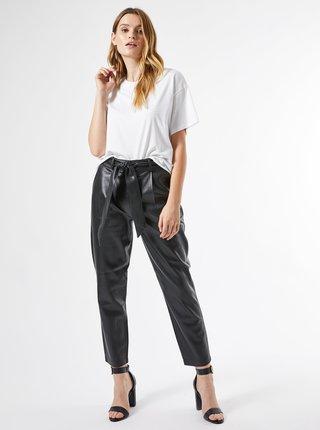 Čierne skrátené koženkové nohavice Dorothy Perkins