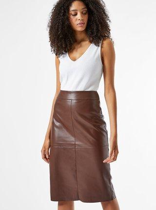 Hnědá pouzdrová koženková sukně Dorothy Perkins