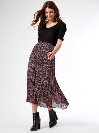 Růžovo-černá květovaná plisovaná midisukně Dorothy Perkins
