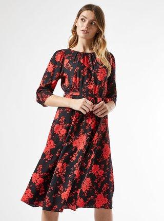 Červeno-čierne kvetované šaty Billie & Blossom